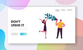 Total Sale in Store, Shopping Promotion, Announcement and Loyalty Program Landing Page Template. Man Character Cry to Loudspeaker with Money Flow Out, Woman Jumping. Cartoon People Vector Illustration