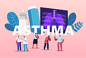 Pulmonology and Asthma Disease. Tiny Characters at Huge Lungs and Inhaler, Respiratory System Examination and Check Up