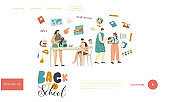 School Preparation Landing Page Template. Characters Mother and Kids Prepare for Back to School Mom Put Lunch Box to Bag