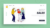 Stylish People with Gadgets Communicate Landing Page Template. Characters in Trendy Clothes Standing in Line or Queue Waiting for Store Boutique or Showroom Opening. Linear Vector Illustration