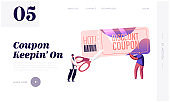 Sale and Discount Website Landing Page. Tiny Male and Female Characters Cut Huge Discount Coupon with Scissors. Shopping Recreation, Price Off Promo Web Page Banner. Cartoon Flat Vector Illustration