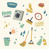 Set of Home Cleaning Equipment, Furniture and Accessories Washing Machine, Rubber Gloves and Basin, Broom, Mop and Brush with Bucket, Sprayer, Detergent, Bubbles and Clock. Linear Vector Illustration