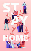 Stay Home Isolation Concept. People Characters Wearing Medical Masks Domestic Activity. Family of Parents, Grandparents and Kids on Lockdown Quarantine Poster Banner Flyer. Cartoon Vector Illustration