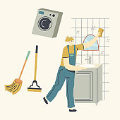 Cleaning Service, Female Character in Blue Uniform Overalls Washing and Wiping Mirror in Bathroom with Rag. Woman Employee of Professional Cleaning Company Working Process. Linear Vector Illustration