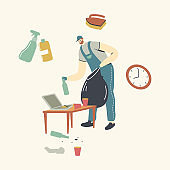 Man Janitor in Rubber Gloves and Uniform Collecting Garbage to Sack Cleaning Home with Tools and Equipment. Male Character Household Chores, Cleaning Service Worker Duties. Linear Vector Illustration