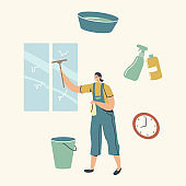 Cleaning Service Concept. Female Character in Uniform Washing Window with Scraper. Professional Cleaning Company Worker with Equipment at Work. Housekeeping Occupation. Linear Vector Illustration