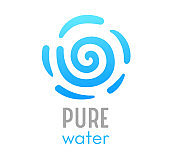 Pure Water Sea Wave Banner with Typography. Liquid Ocean Curved Spiral Shaped Line on White Background. Blue Fresh Aqua in Motion Design Element, Template, Advertising Poster. Vector Illustration