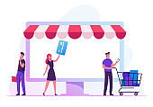 People Interacting with Mobile Phones, Computers and other Gadgets for Buying Things and Presents Using Cashless Payments. Men and Women Online Shopping, E-commerce Cartoon Flat Vector Illustration