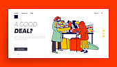 Senior Lady Look Vintage Postcards on Flea Market Landing Page Template. Aged Character Shopping on Garage Sale Choose Antique Things. Seller Offer Second Hand Stuff. Linear People Vector Illustration