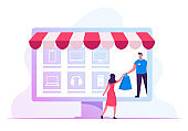 Salesman or Delivery Courier Giving Bag to Recipient Woman Standing at Huge Laptop Screen with Goods Icons. Online Application for Shopping, Digital E-commerce Sales Cartoon Flat Vector Illustration