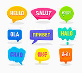 Set Speech Bubbles Hello Word in Different Languages English Chinese Spanish Russian Bengali Hindi Indonesian French Italian Isolated on White Background. Colorful Labels, Icons Vector Illustration