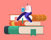 Tiny Male Character Bookworm Reading in Library Sitting on Huge Pile of Books. Young Man Student Spend Time in Athenaeum Prepare for Examination in Literature Storage. Cartoon Vector Illustration