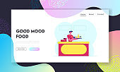 Staff Invite Customer to Try Fresh Fastfood Meal Website Landing Page. Young Salesman Holding Tray with Fast Food Standing at Counter Desk in Cafe Web Page Banner. Cartoon Flat Vector Illustration