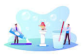 Dentists Doctor Characters Holding Huge Brush and Toothpaste Teaching Cleaning Teeth Correctly. Stomatology, Dentistry