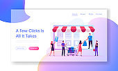 Online Shopping Website Landing Page. Customers with Credit Card and Trolley Buying Goods at Huge Gadget Screen with Purchase Icons. Digital Marketing Web Page Banner. Cartoon Flat Vector Illustration