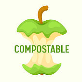 Compostable Waste Concept. Organic Trash, Food Compost Logo with Apple Stump Isolated on White Background. Ecological Fertilizer Ad Poster Banner Flyer Brochure. Cartoon Flat Vector Illustration
