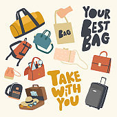 Set of Icons Various Bags Theme. Accessories Collection, Suitcase, Luggage or Baggage for Tourist Travel, Reticule