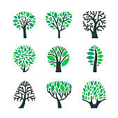 Trees with Green Leaves on Branches Set Isolated on White Background. Summer or Spring Season Foliar Plants, Forrest, Nature or Eco Design Element, Cut Out Objects. Cartoon Vector Clipart Illustration