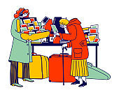 Senior Lady Look Vintage Postcards on Flea Market. Aged Character Shopping on Garage Sale Choose and Buy Old Antique Things. Seller Offer Second Hand Stuff to Client. Linear People Vector Illustration