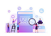 User Manual Concept. People with Some Office Stuff Discussing Content of Guide. Requirements Specifications Document. People Read Book with Instructions for Equipment. Cartoon Flat Vector Illustration