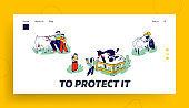 Little Kids Visit Farming Zoo with Parents Landing Page Template. Children Characters Petting Domestic Animals Care of Cows, Sheep, Rabbits and Goat on Weekend. Linear People Vector Illustration