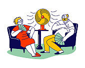 Summer Hot Period of Time Concept. Sweltering in Heat Aged People Characters Sitting on Sofa Use Fans and Ventilator to Get a Little Bit Cool. Heat Stroke, Heating Weather. Linear Vector Illustration
