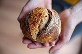 Female hands holding delicious golden bread bun