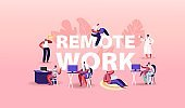 Remote Work Concept. Relaxed Men or Women Freelancer Characters Working Distant on Laptop and Pc from Home