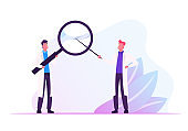 Couple of Male Doctors in Medical Robe Holding Huge Magnifier in Hands Pointing through Glass. Hospital Healthcare Staff at Work. Medicine Profession, Occupation. Cartoon Flat Vector Illustration