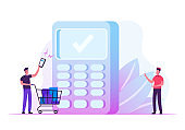 Man Buyer Holding Smartphone with Application for Online Payment Pushing Trolley with Purchases to Cashier Desk with Salesman Prepare Pos Terminal for Cashless Paying Cartoon Flat Vector Illustration