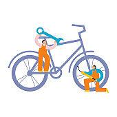 Men who fixe bike illustration