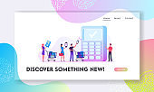 Online Paying with Pos Terminal Website Landing Page. Customers Stand in Queue in Supermarket Prepare Credit Card, Smart Devices for Cashless Payment Web Page Banner. Cartoon Flat Vector Illustration