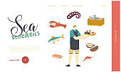 Sea Products, Asian Cuisine Landing Page Template. Male Cooking Japan Food Seafood Sushi and Rolls, Household Activity