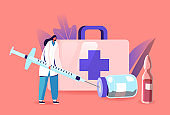 Medical Vaccination Concept. Female Doctor Character Filling Huge Syringe with Medicine for Vaccine Injection Dose Shot