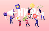 Hype, Social Media Viral or Fake Content Spreading Concept. Tiny Characters with Huge Letters and Megaphone. Money Bills Flying around. Poster Banner Flyer. Cartoon People Vector Illustration