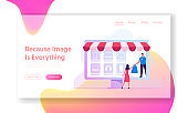 Online Application for Shopping Website Landing Page. Salesman Giving Bag to Woman Standing at Huge Laptop Screen with Goods Icons. Digital E-Sales Web Page Banner. Cartoon Flat Vector Illustration