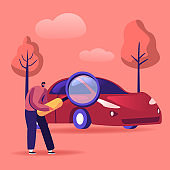 Man Looking on Car through Magnifying Glass, Consumer Choosing Auto for Buying. Transport Gasoline Service for Drivers, Petrol Economy, Vehicle Purchase Concept. Cartoon Flat Vector Illustration