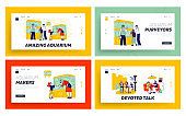 Characters in Pet Shop Watching Fish in Aquarium, Girlfriends Meeting Landing Page Template Set. Parents Buy Fish for Children in Zoo Market. Annoying Talk in Cafe. Linear Vector People Illustration