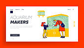 Customers Characters at Zoo Market Landing Page Template. Woman with Daughter Visiting Pet Shop for Choosing and Buying Aquarium and Fish Walking among Stands. Linear People Vector Illustration