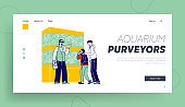 Man and Son Visiting Pet Shop for Choosing and Buying Aquarium and Fish Landing Page Template. Customer Characters at Zoo Market Walking among Stands with Fishes . Linear People Vector Illustration