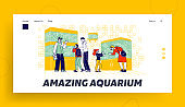Characters Watching Fishes Swimming in Aquariums in Pet Shop Landing Page Template. Parents Buy Fish for Children. Salesman Explain Customers of Fish Care Zoo Market. Linear Vector People Illustration