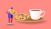 Tiny Female Character Eat Huge Cookie with Chocolate Sprinkles at Saucer and Cup with Coffee. Woman Drinking Hot Drink