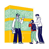 Man and Son Visiting Pet Shop for Choosing and Buying Aquarium and Fish. Salesman Character at Zoo Market Walking among Stands with Tropical Fishes Help Customers. Linear People Vector Illustration