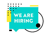 Hiring Recruitment Poster. We Are Hiring Typography on Geometric Trendy Colored Shapes Background. Open Vacancy