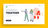 Brainstorm or Working Process Website Landing Page. Business People Discussing Idea at Office Meeting. Team Project Development, Teamwork Web Page Banner. Cartoon Flat Vector Illustration, Line Art