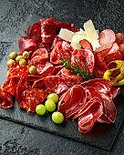 Set of Salami, chorizo, coppa, lomo, beef, Meat antipasto platter on stone board