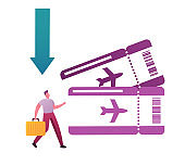 Cheap Flight, Low Cost Airline Offer, Profitable Promotion Concept. Tiny Male Character Tourist with Suitcase Huge Airplane Tickets. Booking Service, Lowcoster Price. Cartoon Vector Illustration