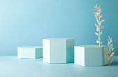 Abstract background with hexagon shape podiums for products presentation or exhibitions.