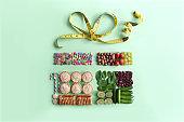 Gift box concept, christmas vs january diet