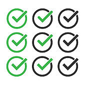 Green check mark icon set. Vector isolated elements. Tick approved symbol. Stock vector.